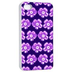 Purple Flower Pattern On Blue Apple Iphone 4/4s Seamless Case (white) by Costasonlineshop