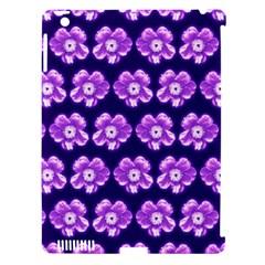 Purple Flower Pattern On Blue Apple Ipad 3/4 Hardshell Case (compatible With Smart Cover) by Costasonlineshop