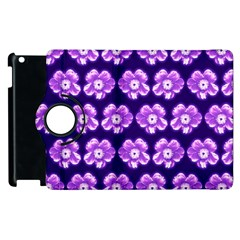 Purple Flower Pattern On Blue Apple Ipad 2 Flip 360 Case by Costasonlineshop