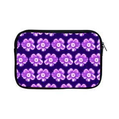 Purple Flower Pattern On Blue Apple Ipad Mini Zipper Cases by Costasonlineshop