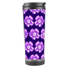 Purple Flower Pattern On Blue Travel Tumbler by Costasonlineshop