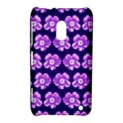 Purple Flower Pattern On Blue Nokia Lumia 620 by Costasonlineshop