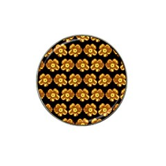 Yellow Brown Flower Pattern On Brown Hat Clip Ball Marker by Costasonlineshop