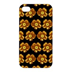Yellow Brown Flower Pattern On Brown Apple Iphone 4/4s Hardshell Case by Costasonlineshop