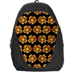 Yellow Brown Flower Pattern On Brown Backpack Bag by Costasonlineshop