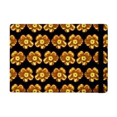 Yellow Brown Flower Pattern On Brown Apple Ipad Mini Flip Case by Costasonlineshop