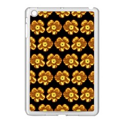 Yellow Brown Flower Pattern On Brown Apple Ipad Mini Case (white) by Costasonlineshop