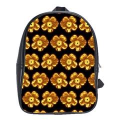 Yellow Brown Flower Pattern On Brown School Bags (xl)  by Costasonlineshop
