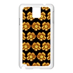 Yellow Brown Flower Pattern On Brown Samsung Galaxy Note 3 N9005 Case (white) by Costasonlineshop