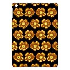 Yellow Brown Flower Pattern On Brown Ipad Air Hardshell Cases by Costasonlineshop