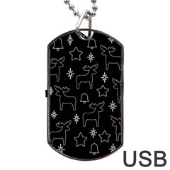 Black Xmas Pattern Dog Tag Usb Flash (two Sides)  by Valentinaart