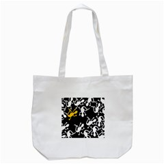 Yellow Lizard Pattern Tote Bag (white) by Valentinaart