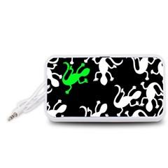 Green lizards  Portable Speaker (White)  by Valentinaart