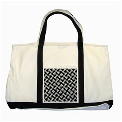 Houndstooth2 Black Marble & Gray Marble Two Tone Tote Bag by trendistuff