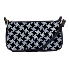 Houndstooth2 Black Marble & Gray Marble Shoulder Clutch Bag by trendistuff