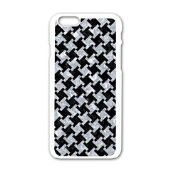 Houndstooth2 Black Marble & Gray Marble Apple Iphone 6/6s White Enamel Case by trendistuff