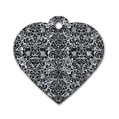 Damask2 Black Marble & Gray Marble (r) Dog Tag Heart (one Side) by trendistuff