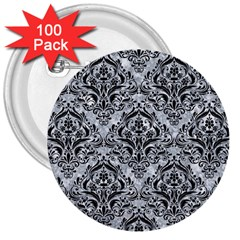 Damask1 Black Marble & Gray Marble (r) 3  Button (100 Pack) by trendistuff