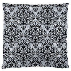 Damask1 Black Marble & Gray Marble (r) Large Cushion Case (two Sides) by trendistuff