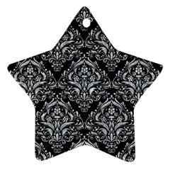 Damask1 Black Marble & Gray Marble Star Ornament (two Sides) by trendistuff