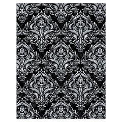 Damask1 Black Marble & Gray Marble Drawstring Bag (large) by trendistuff