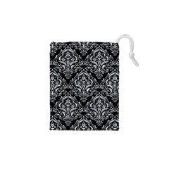 Damask1 Black Marble & Gray Marble Drawstring Pouch (xs) by trendistuff
