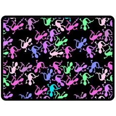 Purple Lizards Pattern Fleece Blanket (large)  by Valentinaart