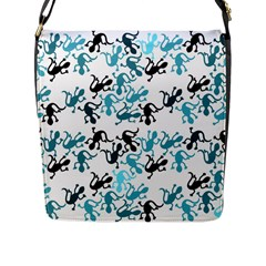 Lizards Pattern   Blue Flap Messenger Bag (l)  by Valentinaart