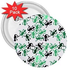 Lizards Pattern   Green 3  Buttons (10 Pack)  by Valentinaart