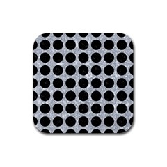 Circles1 Black Marble & Gray Marble (r) Rubber Square Coaster (4 Pack) by trendistuff