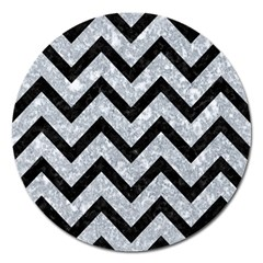 Chevron9 Black Marble & Gray Marble (r) Magnet 5  (round) by trendistuff