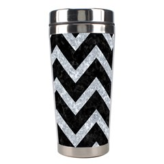 Chevron9 Black Marble & Gray Marble Stainless Steel Travel Tumbler by trendistuff