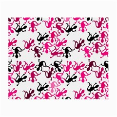 Lizards Pattern   Magenta Small Glasses Cloth (2 Side) by Valentinaart