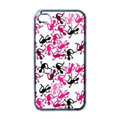 Lizards Pattern   Magenta Apple Iphone 4 Case (black) by Valentinaart