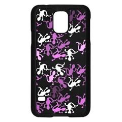 Magenta Lizards Pattern Samsung Galaxy S5 Case (black) by Valentinaart
