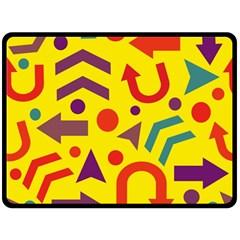 Yellow Direction Fleece Blanket (large)  by Valentinaart