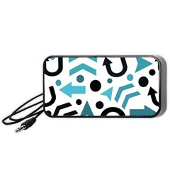 Cyan Direction Pattern Portable Speaker (black)  by Valentinaart