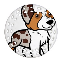 Aussie Red Merle Cartoon Round Filigree Ornament (2Side) by TailWags