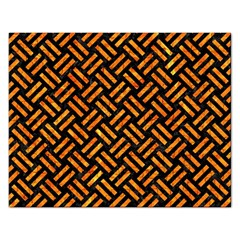 Woven2 Black Marble & Orange Marble Jigsaw Puzzle (rectangular) by trendistuff