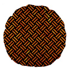 Woven2 Black Marble & Orange Marble Large 18  Premium Flano Round Cushion  by trendistuff