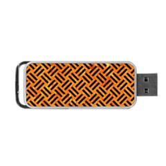 Woven2 Black Marble & Orange Marble (r) Portable Usb Flash (two Sides) by trendistuff