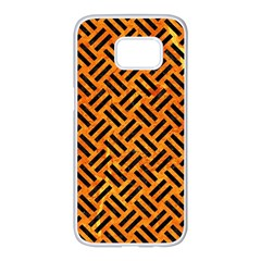Woven2 Black Marble & Orange Marble (r) Samsung Galaxy S7 Edge White Seamless Case