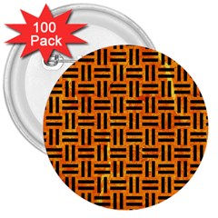 Woven1 Black Marble & Orange Marble (r) 3  Button (100 Pack) by trendistuff