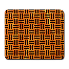 Woven1 Black Marble & Orange Marble (r) Large Mousepad by trendistuff