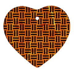 Woven1 Black Marble & Orange Marble (r) Heart Ornament (two Sides) by trendistuff