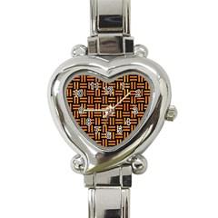 Woven1 Black Marble & Orange Marble Heart Italian Charm Watch by trendistuff