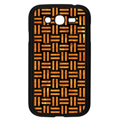 Woven1 Black Marble & Orange Marble Samsung Galaxy Grand Duos I9082 Case (black) by trendistuff