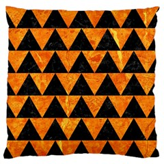 Triangle2 Black Marble & Orange Marble Large Flano Cushion Case (two Sides) by trendistuff