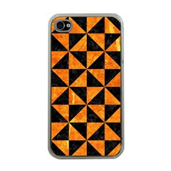 Triangle1 Black Marble & Orange Marble Apple Iphone 4 Case (clear) by trendistuff