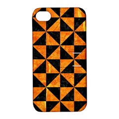 Triangle1 Black Marble & Orange Marble Apple Iphone 4/4s Hardshell Case With Stand by trendistuff